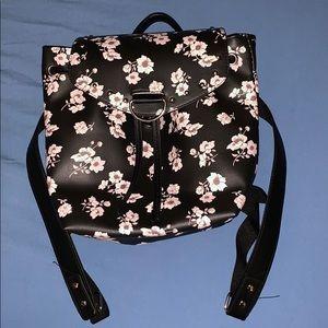 Handbags - Black and white lotus floral Backpack